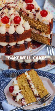 Homemade Cake Recipes, Cake Mix Recipes, Pound Cake Recipes, Baking Recipes, Cherry Bakewell Cake, Janes Patisserie, British Baking, Almond Cakes, Yummy Cakes