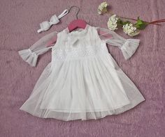 Baby girls white dress with white lace and by MonikaMagdalenaHM