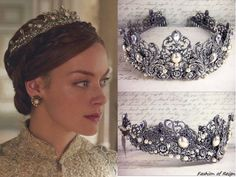 On Reign episode Elizabeth wears this Rabbitwood & Reason 'Enchanted Rose Garden' silver tiara Reign Season, Reign Tv Show, Reign Mary, Reign Dresses, Reign Fashion, Silver Tiara, Enchanted Rose, Bridal Tiara, Royal Jewels