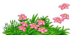 Grass with Pink Flowers PNG Clipart