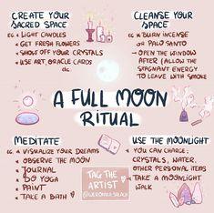 A full moon ritual meditation New Moon Rituals, Full Moon Ritual, Full Moon Spells, Wiccan Rituals, Full Moon Meditation, Wiccan Altar, Wiccan Witch, Magick Spells, Green Witchcraft