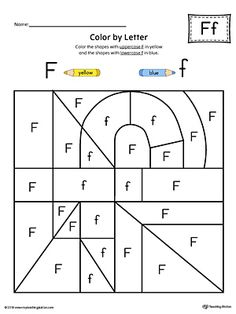 Lowercase Letter F Color-by-Letter Worksheet Worksheet. The Lowercase Letter F Color-by-Letter Worksheet will help your child identify the lowercase letter F and discover colors and shapes. Free Kindergarten Worksheets, Alphabet Worksheets, Alphabet Activities, In Kindergarten, Teaching The Alphabet, Alphabet For Kids, Letter F Craft, Preschool Writing, Grande Section
