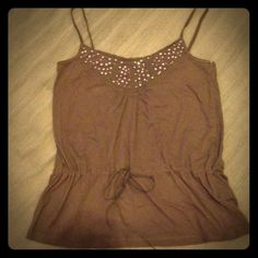 Draw string waste tank Grey brown tank with sequins. H&M Tops Tank Tops