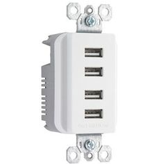 PS Quad USB Charger Recp Wht - Legrand - TM8USB4WCC6
