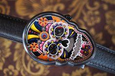 #GerryWatches Fiona Krüger firma de relojería independiente, su pieza Skull Black se inspira en Festividad de la Muerte de México: en sus colores y flora de la temporada. Movimiento automática y correa de piel de becerro. #FionaKruger #FionaKrugerWatches #FionaKrugerSkullBlack
