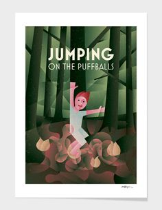 Discover «JUMPING ON THE PUFFBALLS», Limited Edition Fine Art Print by Jan Vajsabel - From 27€ - Curioos