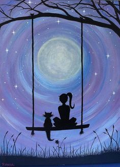 Image result for drawing of girl and cat watching sunset