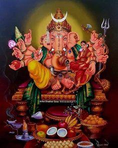 Shri Ganesh Images, Shiva Parvati Images, Ganesha Pictures, Clay Ganesha, Ganesha Art, Ganesh Idol, Lord Ganesha Paintings, Lord Shiva Painting, Shiva Art