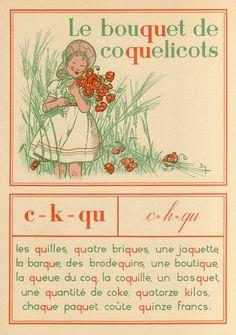 c - k - qu. E. Barthélemy, illustrator. From: Mon livre préféré méthode de lecture mixte by Camille Dirand and Mathilde Blanc. Published Paris: A. Hatier, 1950.