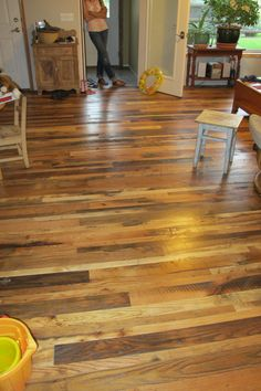 "Reclaimed mixed hardwood floor provided by Distinguished Boards + Beams. 2""- 4"" Widths and a 25% skip planed surface. Finished with a polyurethane coat. We counted 10 different species in this floor. Gorgeous."