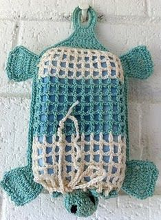 Too cute!!    Crochet Talula Turtle Soap Cover | AllFreeCrochet.com