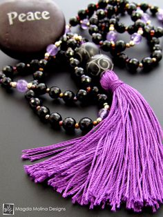The Black Onyx And Amethyst MALA Necklace With Purple Silk Tassel
