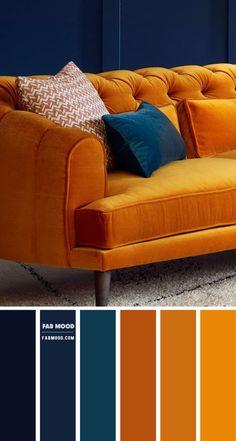 Color Schemes Colour Palettes, Living Room Color Schemes, Living Room Designs, Living Room Decor, Bedroom Decor, Rust Color Schemes, Living Room Colors, Blue And Orange Living Room, Blue Living Room Walls