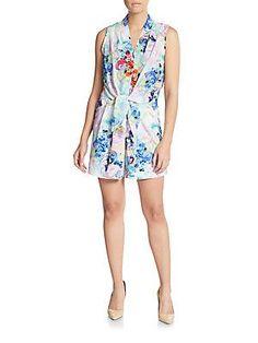 7abada7c0500 Amanda Uprichard Watercolor-Print Short Jumpsuit - Watercolor Flower -  Amanda Uprichard