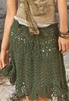 Crochet Skirt... Would make the slip underneath green and the same length as the skirt.