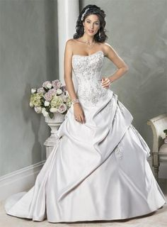Strapless Embroidered lace Satin Ball Gown Wedding Dress- LOVE the beading on the bodice