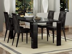 "Status Armonia Diamond Dining Table - Luxury Black wooden dining table. Base - legs. Made in Italy. Dimensions: 74.5"" x 41"" x 29.5""."