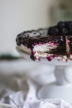 Frozen Blackberry, Honey,  Goat Cheesecake (plus a giveaway!) | Adventures in Cooking
