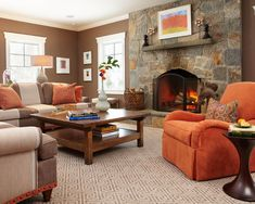spaces brown and orange design pictures remodel decor and ideas page 2 - Orange Living Room Design