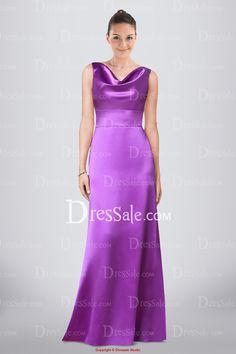 Simple Floor-length A-line Satin Bridesmaid Dress Featuring Cowl Neckline