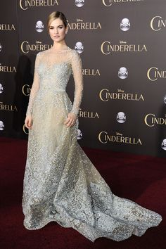 Lily James in Elie Saab Couture at the LA premiere of Cinderella   - HarpersBAZAAR.com