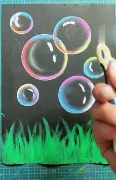 Oil Pastel Drawings Easy, Oil Pastel Paintings, Oil Pastels, Bubble Drawing, Bubble Art, Bubble Painting, Image Pastel, Soft Pastel Art, Pencil Art Drawings
