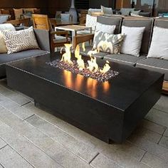 """Dreffco 30"""" x 60"""" Custom Outdoor Rectangular Fire Pit Table with ..."""