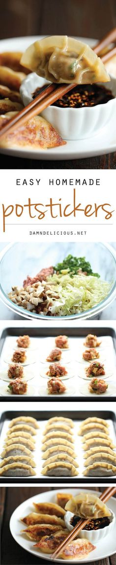 Potstickers - Homemade potstickers are easier to make than you think, and they taste better than the store-bought ones!Potstickers - Homemade potstickers are easier to make than you think, and they taste better than the store-bought ones! Pork Recipes, Cooking Recipes, Healthy Recipes, Recipies, Easy Asian Recipes, Copycat Recipes, Asian Cooking, I Love Food, Appetizer Recipes