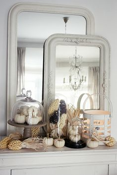 Beautiful Fall mantel display in white. By White Living