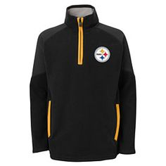 Get this Pittsburgh Steelers Youth Evasive 1 4 Zip Jacket at  ThePittsburghFan.com 9ec38b342