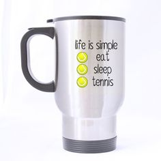 Life is Simple Eat Sleep and Tennis- Funny Travel Mug 14oz Coffee Mugs or Tea Cup Cool Birthday/christmas Gifts for Men,women,him,boys and Girls * Find out more about the great product at the image link.