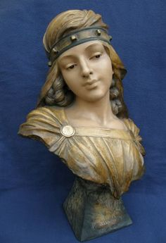 Salambo by Scotte c.1900   A particularly good and large terracotta bust of a temple girl of ancient Carthage.