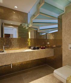 Gold metallic tile Domb Architects