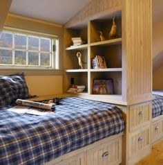decorative bedroom storage design Decorative Bedroom.  Nice and smart idea for a long, thin attic bedroom for two!
