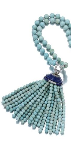 Turquoise, lapis lazuli and diamond sautoir, Van Cleef  Arpels, 1929