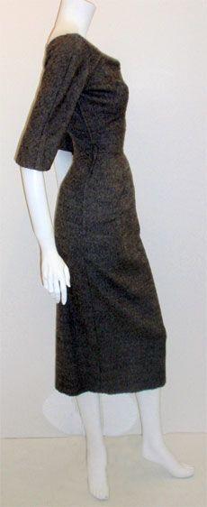 Charles James for Samuel Winston, gray mohair cocktail dress at 1stdibs