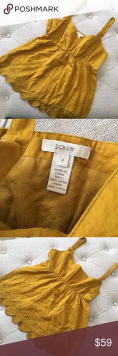J. crew Yellow Mustard Tank Top J. crew Yellow Mustard Tank Top. 100% cotton. Size 2. Beautiful color perfect to wear for a pop of color to any outfit! Wear it by itself or layer on top! Must have. Like new condition with some wrinkles from storage. J. Crew Tops