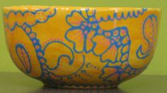 Bowl painted at Art & Soul using fun writers