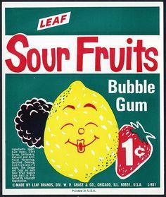 Candy Machine Vending Insert Card - Leaf Sour Fruits 1-cent bubble gum - 1960's 1970's by JasonLiebig, via Flickr