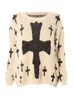 Nude & Black Mohair Cross Print Jumper