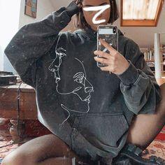Dark Gray Face Printed Sweatshirt – aromiya Retro Sweatshirts, Printed Sweatshirts, Express Fashion, How To Feel Beautiful, Summer Sale, Bomber Jacket, Long Sleeve, Sleeves, Jackets