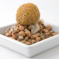 Cochon de Lait: Fried hog's head cheese with black-eyed pea and sweet potato vinegar caviar