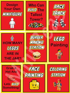 Lego parties are always a hit and with these signs you can have the games set up ready to go before everyone arrives. There are signs for 9 different activities plus a printable of Emmet and part of his favourite song Everything is Awesome!. Activities are: Coloring Station - go to lego.com for a stack of printable colouring pages Design your own minifigure - There are templates on line where the kids can then let imagination go wild How many Legos are in the jar? - Fill a jar with Lego and…