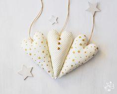 Gold polka dot Christmas hearts  ornaments  set by botanicbotanic, $15.00