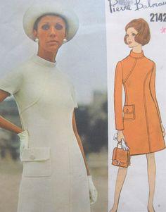 ec7fcf360452 Vintage Vogue 2142, Pierre Balmain, WITH LABEL, 60s Dress Pattern, Paris  Original, Bust 38, Vogue Designer, 1960s Sewing Pattern, Mod Dress