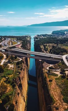 Corinth Canal Greece! I Would  Love To Cross This Bridge! IT'S AWESOME!!