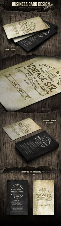 Vintage Grunge Business Card Design - Retro/Vintage Business Cards This PSD template's perfectly Suitable for someone with good style. Vintage Business Cards, Simple Business Cards, Professional Business Cards, Business Card Design, Retro Vintage, Vintage Grunge, Shops, Best Graphics, Card Templates