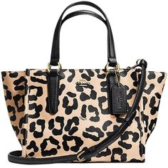 Pre-owned Coach Crosby Mini Carryall Ocelot Tote Bag ($190) ❤ liked on Polyvore