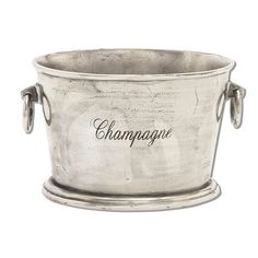 The DecMode 17 in. Aluminum Wine Cooler Ice Bucket features a distressed silver finish and versatile construction that's ready for entertaining. This aluminum ice bucket features Champagne typography and dual round handles for easy transport. Champagne Ice Bucket, Champagne Cooler, Champagne Buckets, Champagne Bar, Beverage Tub, Beverage Center, Wine Bucket, Bucket Cooler, Make Your Own Wine