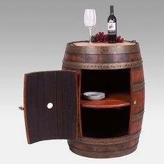 2 Day Designs Reclaimed Wine2Night Full Barrel Cabinet on Casters
